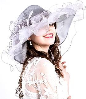Women Foldable Organza Church Derby Hat Ruffles Wide Brim