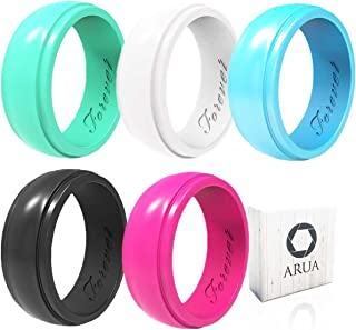 Arua Silicone Wedding Ring for Women 5-Pack - 5 Glossy Wedding Bands. Gift Box Included. Comfortable Rubber Rings for Active Ladies