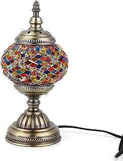 Lampe Turque Mosaïque Orientale de Bureauen Vintage Lampe en Verre Multicolore de Chevet Base en Bronze (Multicolore2)