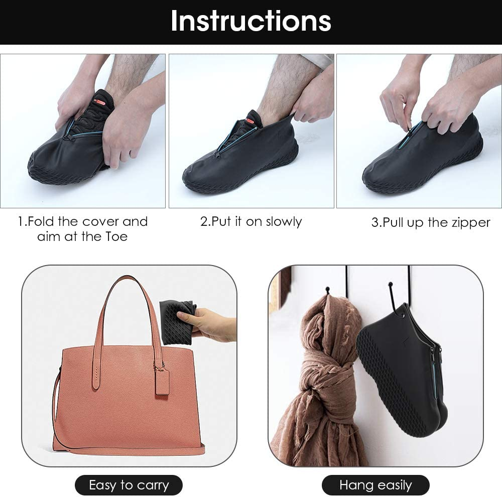 Hydream Silicone Shoe Cover Waterproof Reusable Boot Shoes Covers with Zipper,Non Slip Rain Snow Bowling Travel Indoor Outdoor Overshoe Rubber Protectors for Men Women Kids