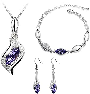 Silver-Tone Angel AAA Marquise Shaped Swarovski Elements Jewelry Set, Australia Import Crystal Necklace, Bracelets, Earrings Ensemble Fashion Jewelry
