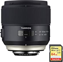 Tamron SP 35mm f/1.8 Di VC USD Lens for Nikon Mount (AFF013N-700) with Lexar 64GB Professional 633x SDXC Class 10 UHS-I/U3 Memory Card Up to 95 Mb/s