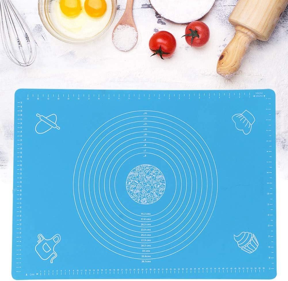 Blu Tappetino in silicone antiaderente e grande tappetino da forno con misurazione e cerchi per macarons rotolanti per impasto Realizzare grandi tappetini da pasticceria Tappetino