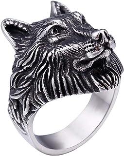 خاتم رجالي من باورو من الفولاذ المقاوم للصدأ مطلي بالذهب بتصميم رأس الذئب العتيق