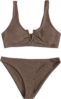 SOLY HUX Women's Notched Neck Bikini Bathing Suit 2 Piece Swimsuits