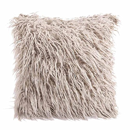 Challyhope Cashmere Pillowslip Cover, Super Soft Plush Stylish Throw Pillow Cases Cushion Shell Cafe Sofa Home Decor (45cm X 45cm, Khaki)
