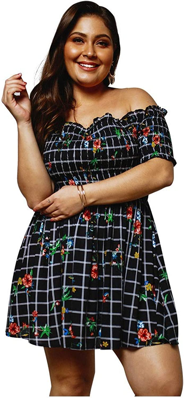 CARRY Dress, European and American Women's Comfortable Large Size Waist Soft Dress Elegant OneShoulder Strapless Print Dress (Size   2XL)