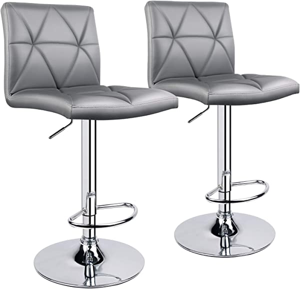 Leader Accessories Bar Stool Hydraulic Square Back Diagonal Line Adjustable Bar Stools Set Of 2 Light Grey