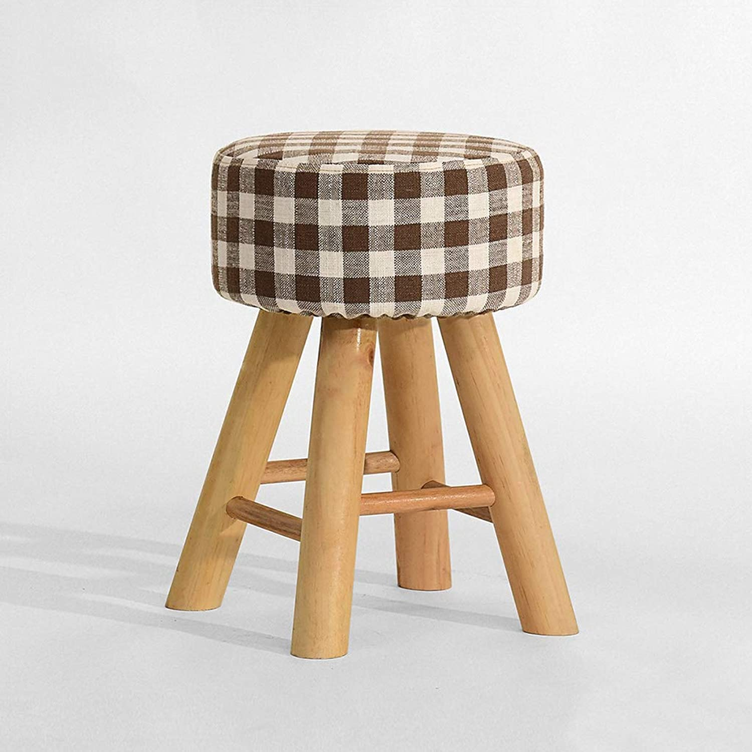 Small Stool, Solid Wood Material Fashion Creative, Easy to wash Fabric Round Stool Dressing Stool