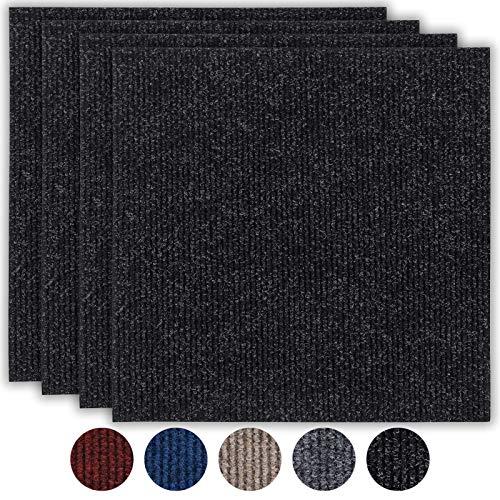 andiamo Teppichfliesen selbstklebend Teppichboden Bodenbelag Fliese à 50x50cm, Farbe:Schwarz, Größe:1 m²