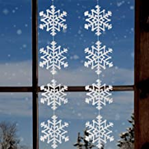 BANBERRY DESIGNS White Snowflake Garland- Set of 2 Snow Flake Glittery Banners