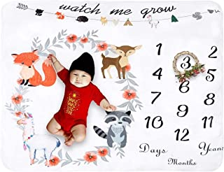 WLYX Fleece Baby Monthly Milestone Blanket Extra Large Photography Background Blanket Thick Backdrop Prop Swaddle Baby Sho...