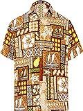 LA LEELA botón de los hombres abajo de manga corta bolsillo delantero cuello de la camisa partido del macho de peso ligero impreso floral suave tela del diseñador impresa clásica camisa divertida coba