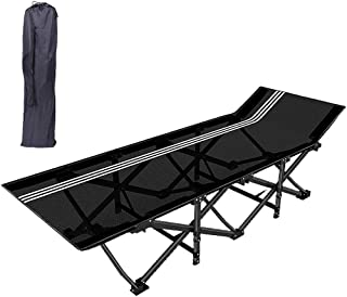 Folding Camping Cot, Portable Adult Single Outdoor Beach Travel Bed Oversize Office Lounge Chair Visitor Bed with Carry Ba...