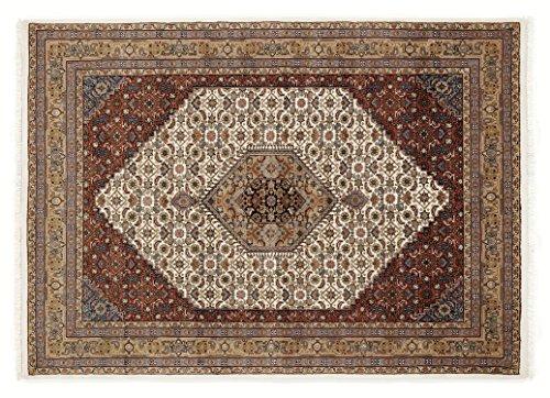 BADOHI BIDJAR echter klassischer Orientteppich handgeknüpft in creme-beige, Größe: 70x140 cm