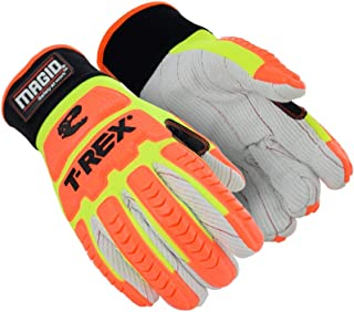 Magid T-REX Primal Series TRX510 Cotton Blend Corded Palm Impact Glove – Cut Level A2 (1 Pair), 8/M, Neoprene Cuff | Thumb Saddle: Yes