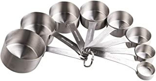 Best Smithcraft Stainless Steel Measuring Cups Set 18/8(304) Steel Material Heavy Duty 8 Measuring Cups and 1 Ring Set of 9 Review