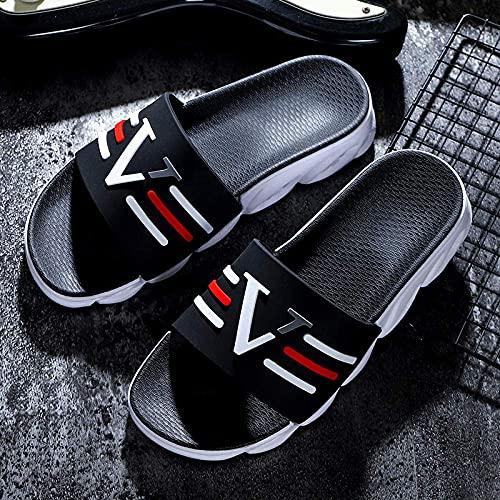 MISS KANG Pantuflas unisex para mujer, sandalias de playa de verano, sandalias de personalidad, para exteriores, blancas, 42, deslizables para mujeres/hombres, Qingchunw (color: negro, tamaño: UK4.5)