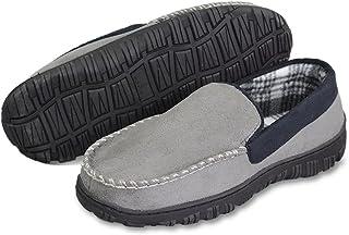 LA PLAGE Men's Advanced Anti-Slip Indoor/Outdoor Microsuede Moccasin Slippers with Hardsole