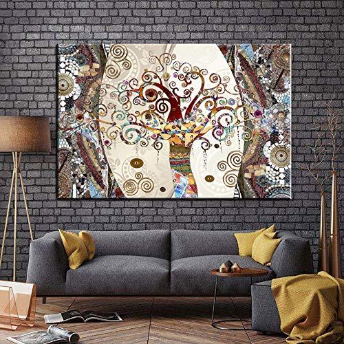 FPUYB Famosos y El árbol de la Vida por Gustav Klimt Mini Rompecabezas Adulto para niños Adultos 1000 Piezas Gran Rompecabezas de Madera Juego de descompresión Regalo de Juguete