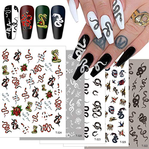 5 Sheets Snake Nail Art Stickers Decals Nail Foil Art Supplies Nail Accessories Luxury Street Fashion Python Cool 3Designs Adhesive Nail Stickers Cosplay Decoration Acrylic Nail Art