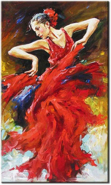 Envío rápido y el mejor servicio OME&MEI Hecho Hecho Hecho A Mano Hermosa Dama Bailando Vestido Rojo Pintura Al óleo Moderna Imagen De Arte De La Parojo Lienzo Sala De Estar Decoración del Hogar Sin Marco  barato y de moda
