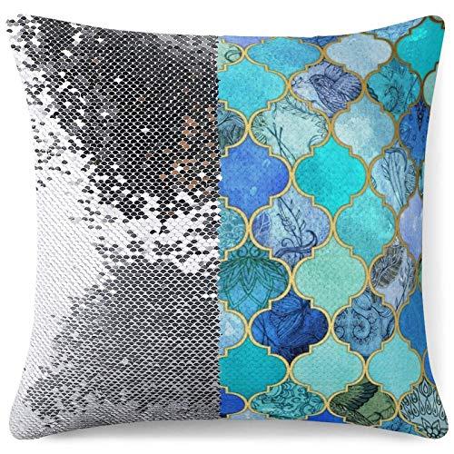 Sequin Throw Pillow Cover - Reversible Glitter Pillowcase Cobalt Blue Moroccan Tile Pattern Decorative Cushion Pillow Cases for Sofa Home Decor