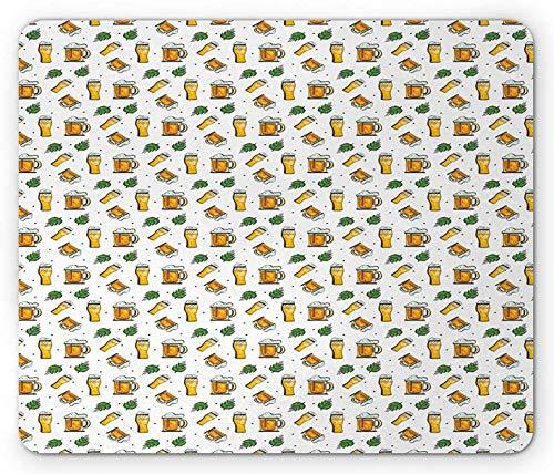 Bier-Maus-Pad, wiederholte Demonstration von Trinkbechern und Gläsern auf einem einfachen Hintergrund, rechteckiges rutschfestes Gummi-Mauspad, Standardgröße, weiß und mehrfarbig