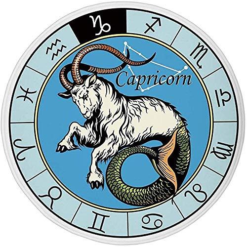 W-WEE Runder Teppich Matte Teppich, Astrologie, Alte Illustration der Steinbock-Ikone mit Zeichen Mythologie Griechisches Saturn-Design, Multioom