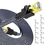 31m Cable de Red Ethernet cat7, Snowkids Alta Velocidad 10Gbit/s 600MHz Cable Plano Trenzado de Nailon Chapado STP Cable Ethernet RJ45 para Router Modem Switch TV Box PC PS4 Viene con 30 Clips Cable