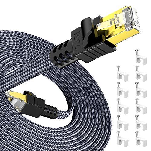 Snowkids 31m Cable de Red Ethernet cat7, Alta Velocidad 10Gbit/s 600MHz Cable Plano Trenzado de Nailon Chapado STP Cable Ethernet RJ45 para Router Modem Switch TV Box PC PS4 Viene con 30 Clips Cable