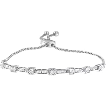 Art Deco 4 mm with Rhodium Sterling Silver Chain /& Bracelets