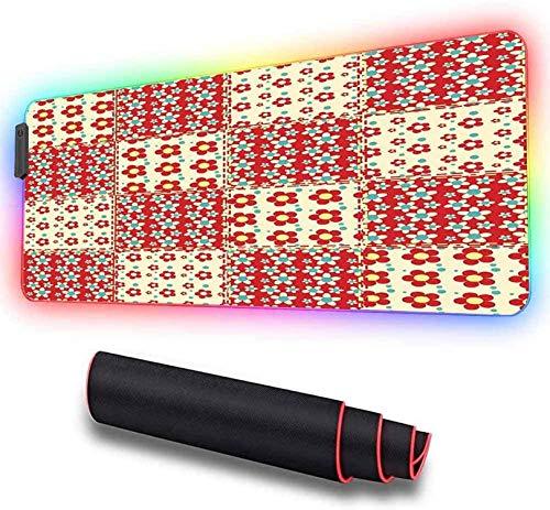 Alfombrilla de ratón suave RGB para juegos, grande, patrón de edredón tradicional con SPR extendida de gran tamaño con LED brillante, alfombrilla para teclado de computadora, 800x300x30mm