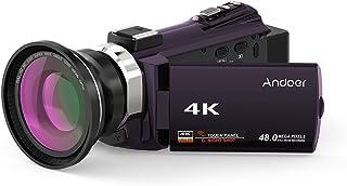 كاميرا فيديو رقمية واي فاي 4K، Andoer 1080P 48 ميجابكسل مع عدسة ماكرو عريضة الزاوية نوفاتيك 9660 شريحة 3 بوصة تعمل باللمس سعة 3 بوصة بميكروفون داخلي تكبير 16X