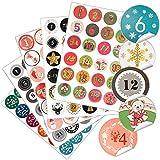 Sinwind 5 paquetes de 24 pegatinas brillantes para Navidad, calendario de Adviento, número de pegatinas, etiquetas de colores, para manualidades, regalos, decoración, Navidad, artesanía, Navidad
