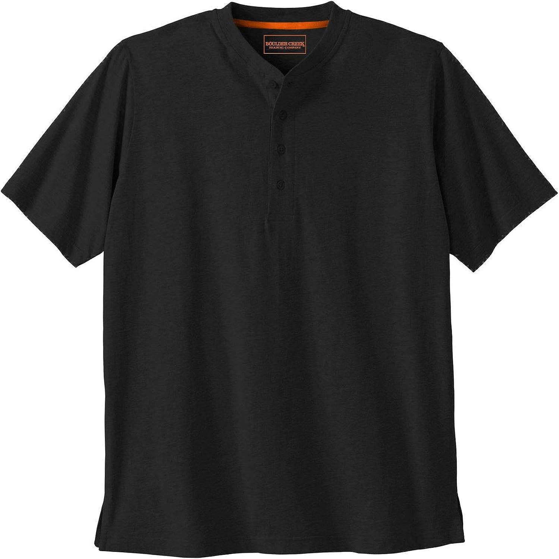 Boulder Creek by Kingsize Men's Big & Tall Heavyweight Short-Sleeve Henley Shirt