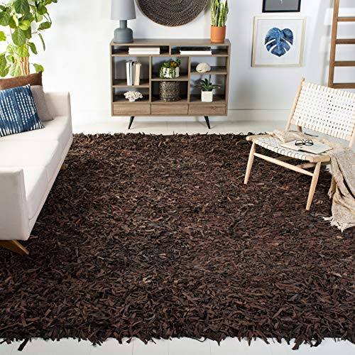 Safavieh Leather Shag Collection LSG601K Hand-Knotted Modern Leather Area Rug, 6' x 9', Dark Brown
