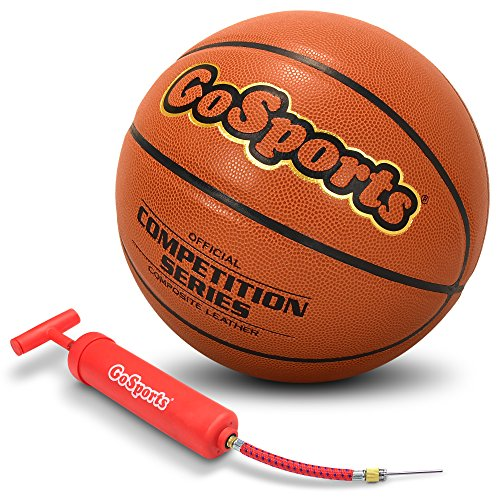 %12 OFF! GoSports Indoor Synthetic Leather Competition Basketball with Pump