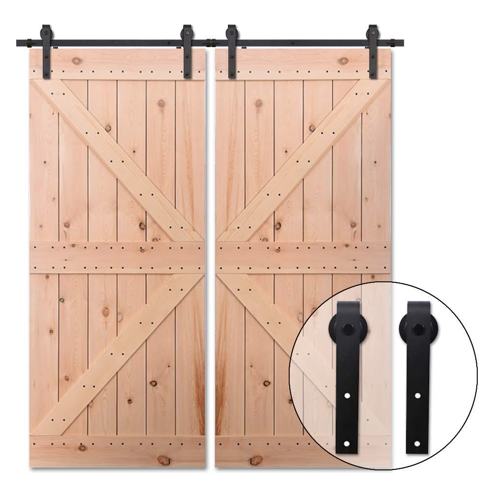 396CM/13FT Puerta de granero corredera estilo rústico puerta de granero corredera de madera para armario puerta granero herraje colgadocon guía rodamientos deslizantes, para puerta doble: Amazon.es: Bricolaje y herramientas