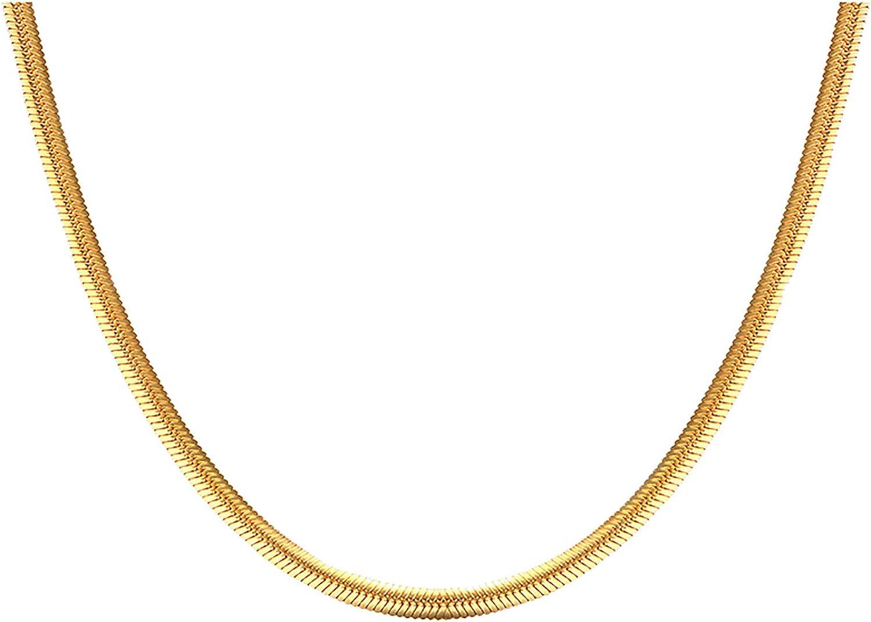 SAIS 18K Gold Plated 2021new Sacramento Mall shipping free Italian 3MM Layered Snake Flat Thin Chain