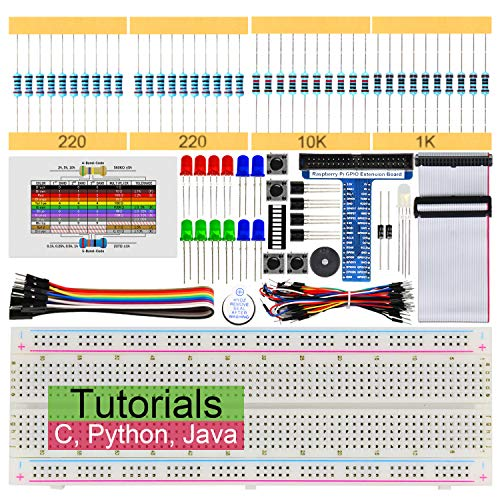 Freenove Basic Starter Kit for Raspberry Pi 4 B 3 B+ 400, 147-Page Detailed Tutorials, Python C Java Code, 146 Items, 17 Projects, Solderless Breadboard