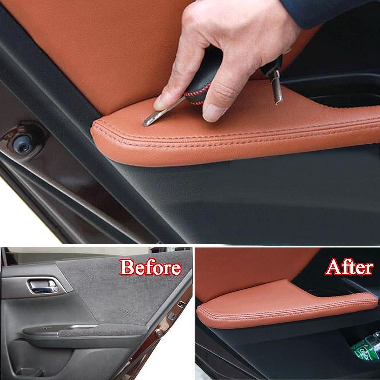 小学生書き込み測るJicorzo - Auto Door Armrest Panel Cover Trim PU Leather Anti-collision Guard Protect Car Covers For Honda Accord 9th 2014 2015 Car Styling [Brown]