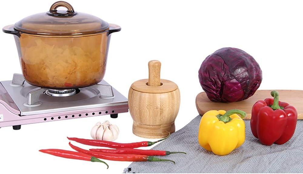 Verdelife M/örser Premium-Bambusschale Knoblauch-Pressm/ühlenbrecher f/ür Guacamole-K/üchenpfeffer Und St/ö/ßelset