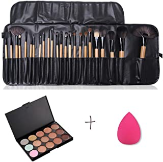 FantasyDay Professional 15 Colors Cream Concealer Camouflage Makeup Palette Contouring Kit + 24 Pcs Makeup Brushes + 1 Sponge Puff - Ideal for Professional and Daily Use