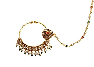 Glamorous Collection Gold Ruby Nose Ring Chain Nath Bridal Nose Ring/Indian Nose Hoop Wedding Jewelry