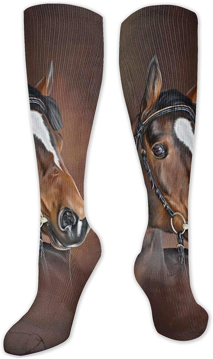Horse Digital Painting Knee High Socks Leg Warmer Dresses Long Boot Stockings For Womens Cosplay Daily Wear