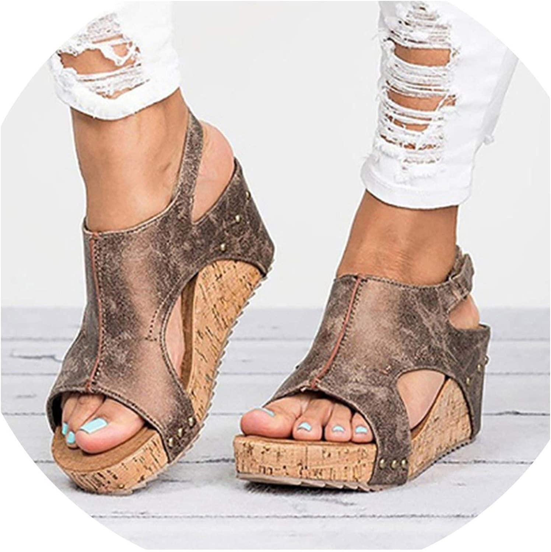 Tiwcer Women Platform Sandals Heels Sandalias women Summer shoes Leather Wedge Heels shoes