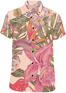 XS-XL INTERESTPRINT Kids T-Shirts Pink Roses Leaves Green Berries