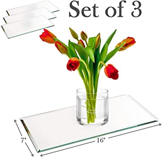 """7""""x16"""" Rectangle Mirror Plate with Bevel Edge Set of 3 – Glass Mirror Tray, Base for Wedding Centerpieces, Candles and Wall Decor"""
