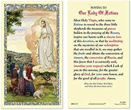 CB Our Lady of Fatima Laminated Holy Card with Catholic Novena to Our Lady of Fatima Prayer on The Back (5 Pack)